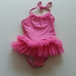 Janie and Jack 3 one piece pink swimsuit with tutu